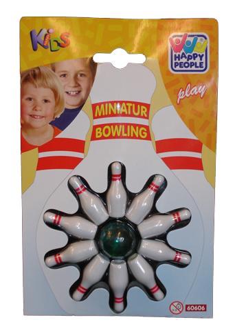 Miniatur Bowling Spiel Kegel h=4cm, Kugel h=2,5 cm