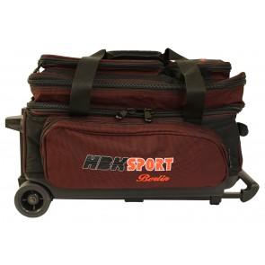 Double Bag schwarz/burgund HBK, mit Rollen